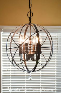 DIY Chandelier Makeovers – DIY Orb Chandelier – Easy Ideas for Old Brass, Crysta… - All About Decoration Shabby Chic Bedrooms, Shabby Chic Homes, Shabby Chic Furniture, Shabby Chic Decor, Vintage Home Decor, Diy Home Decor, Chandelier Makeover, Orb Chandelier, Painting Chandeliers