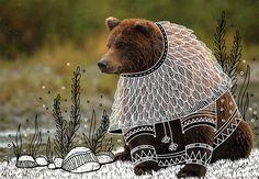 野生動物を童話の世界に変えてしまう、素敵な落書き:[雪]