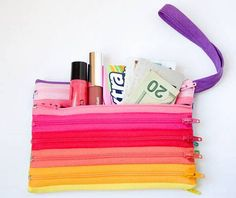 This zipper pouch is fun and easy to make using a bunch of colorful zippers.
