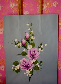 Blue Paper Gift Bag hand painted Lilac Lavender by pinkrose1611, $4.50