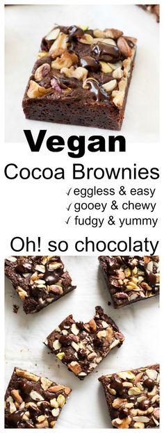 simple vegan cocoa brownies is all you need to satisfy your chocolate cravings. It's vegan , egg less ,dairy free bake. simple vegan cocoa brownies is all you need to satisfy your chocolate cravings. It's vegan , egg less ,dairy free bake. Vegan Treats, Vegan Foods, Vegan Recipes, Diet Recipes, Paleo Diet, Brownie Recipes, Cake Recipes, Dessert Recipes, Eggless Brownie Recipe