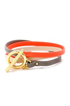 Spring's hottest color combo: nude & neon! {Graham Leather Tricolor Wrap Bracelet by Gorjana}