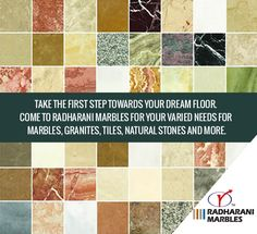 Take the first step towards your dream floor. Come to RadhaRani Marbles for your varied needs for #marbles, #granites, #tiles, natural stones and more.