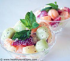 Fruit salad with honey Poppy seed dressing.