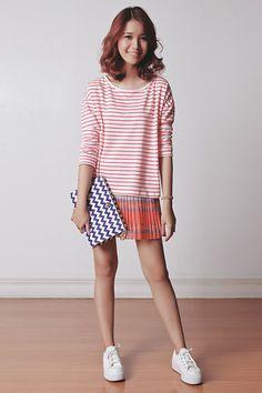 Just G Top, Just G Skirt, Kate Spade Clutch, Topshop Sneakers