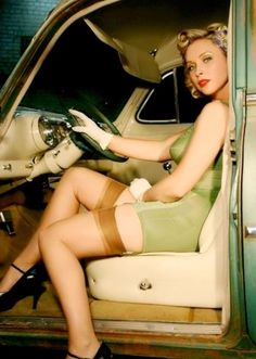 driver chauffeuse in fine lingerie