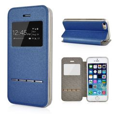 Bezoek onze webshop voor alles stijlvoller iPhone hoesjes - #leather iphone 5 case apple | Apple iPhone 5/5s/5se Leather Case View with Smart Unlock Window Metal Slide Touch - Blue - http://www.ledereniphonehoesjes.nl/slimme-iphone-6-hoesjes/