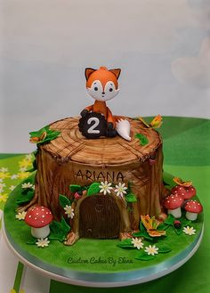 Baby Boy Cakes, Cakes For Boys, Baby Shower Cakes, Woodland Cake, Woodland Party, Tree Stump Cake, Campfire Cake, Fox Cake, Animal Cakes