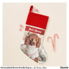 Personalized Brown Poodle Dog in a Sweater Christmas Stocking Sweater Christmas Stockings, Christmas Sweaters, Christmas Card Holders, Christmas Cards, Santa Claus Is Coming To Town, Christmas Animals, Poodle, Great Gifts, Dog