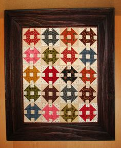 Little Churn Dash blocks.  Pattern available at www.redroosterquilts.com