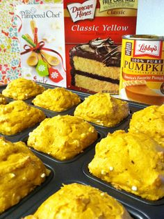 Easy Fall Pumpkin Muffins made in the Pampered Chef brownie pan -- one cane pumpkin and one box yellow cake mix- That's it! Bake at 350* for 20-25 min and Voila! Add some cream cheese frosting to make a cupcake treat! Pampered Chef brownie pan only $19 at www.pamperedchef.biz/jburg