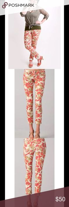 """💕HP💕PAIGE Floral SKYLINE ANKLE PEG Skinny Jeans $189 PAIGE Orange Floral SKYLINE ANKLE PEG Slim Skinny Chello Jeans Size 27  Measurements: Waist 30"""", Rise 7.75"""", Inseam 29"""", Length 36""""   Size 27   Pre-owned Excellent condition Paige Jeans Jeans Ankle & Cropped"""