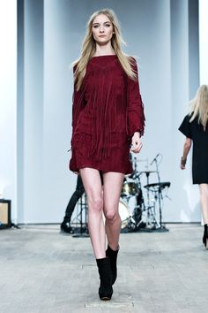 Hunkydory - Stockholm Fashion Week 2013 - Berry shift dress with v-shape at neckline and tassels. Keeping with the up-coming western theme.