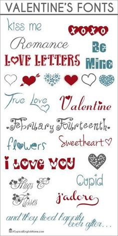 Free Valentines Fonts - Fonts - Ideas of Fonts - I think Valentines Day is my favorite time of year for gorgeous fonts! As much as I love all the pretty Valentines fonts I shared last My Funny Valentine, Valentine Day Crafts, Love Valentines, Valentines Lettering, Cute Fonts, Fancy Fonts, Awesome Fonts, Pretty Fonts, Alphabet Police