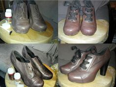 re-dyed trashed lace up oxfords.