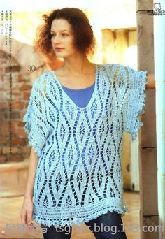 nice lacy tunic and easy to make!  free crochet pattern/can be made plus size easily