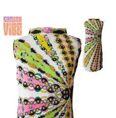 60s Dress | Vintage 1960s MR DINO Psychedelic Floral Graphic Print Midi Dress | VTG Print Dress