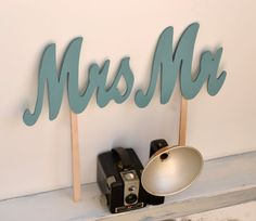 Wedding Photo Props Mr and Mrs Signs Hand Held Sign