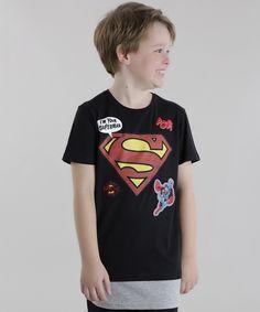 Camiseta Longa Super Homem Preta