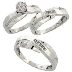 10k White Gold Diamond Trio Engagement Wedding Ring Set for Him and Her 3-piece 7 mm  6 mm wide 0.10 cttw Brilliant Cut, ladies sizes 5 - 10, mens sizes 8 - 14 Gabriella Gold. $615.10