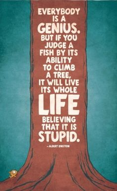 Everybody is a genius. But if you judge a fish by its ability to climb a tree, it will live its whole life believing that it is stupid. ~Albert Einstein