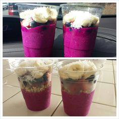 Pitaya dragonfruit cups:   To make one pitaya cup:      -1 packet of pitaya plus (you can buy a pack of 4 at whole foods)    -half of a banana -4 oz of almond milk      BLEND ALL THAT TOGETHER.      TOP with hemp seed granola (or any kind of granola), blueberries, strawberries, bananas, and shredded coconut.