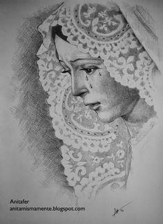 Anitafer_Artist: Virgen de la Esperanza Macarena de Sevilla, dibujo God Tattoos, Jesus Tattoo, Chicano Tattoos, Cherub Tattoo Designs, Tattoo Designs Men, Virgin Mary Art, Verge, Eye Drawing Tutorials, Aztec Calendar