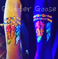 UV Neon Blacklight rainbow feather feathers armband arm design. Face painting painter paint art sfx fx glitter makeup idea ideas. By Glitter Goose face & body artist.