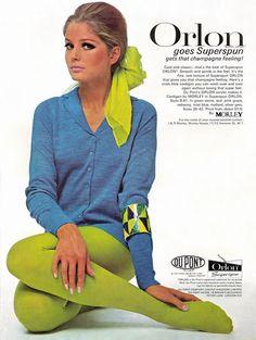 Mod •~• Kecia Nyman in Orlon advertisement, Bazaar Magazine, March 1967