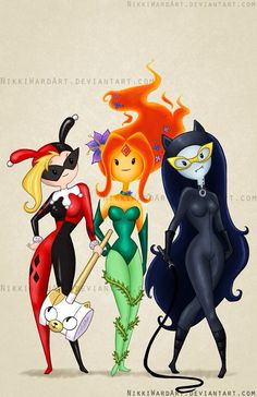 Gotham City Sirens made over Adventure Time style. Fiona as Harley Quinn, the Flame Princess as Poison Ivy, and Marceline as Catwoman Cartoon Adventure Time, Adventure Time Style, Adventure Time Crossover, Adventure Time Flame Princess, Adventure Time Cosplay, Adventure Time Girls, Marceline, Catwoman Cosplay, Cartoon Cartoon