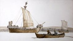 BBC - Your Paintings - A Medieval Ship, Boat and Coaster in the River Taw