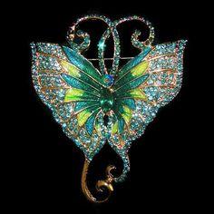 Butterfly Brooch Crystal & Enamel