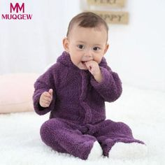 16bd93818 MUQGEW Newborn Romper Toddler Baby Boys Girls Winter Clothing Long Sleeves  Keep Warm Cartoon Hooded Romper