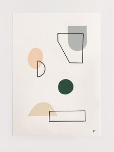 This simple but stunning 'Spring Shapes' print is printed on beautiful cotton archival paper, using fade resistant inks that last a lifetime. Abstract Shapes, Geometric Art, Geometric Patterns, Geometric Shapes Design, Pattern Illustration, Graphic Illustration, Shape Art, Diy Décoration, Minimalist Art