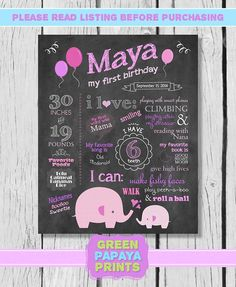 Girl's Elephant Chalkboard Sign Printable - First Birthday - Birthday Decoration - Photo Prop - Milestones Poster - Chalk Sign on Etsy, $12.00