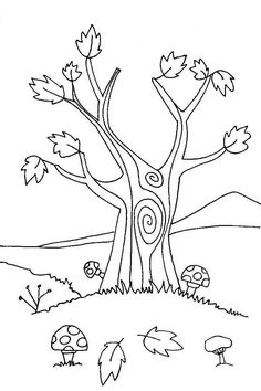 hojas de otoo para colorear 01  Estaciones del ao  Pinterest
