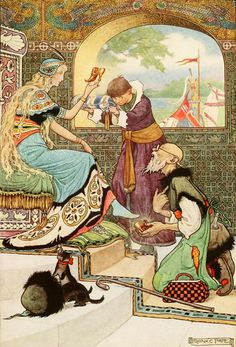 """' """"Oh,"""" said the man, """"I am able to do everything"""" '. Frank Cheyne Pape illustration from 'The Russian Story Book' (1916)."""