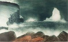 David Blackwood etching, April Iceberg off Bragg's Island, 1976, 20 X 32 inches.