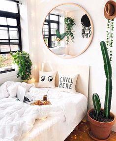 Bedroom Plants Decor, Room Ideas Bedroom, Bedroom Girls, Small Bedroom Designs, Cute Room Decor, Scandinavian Bedroom, Aesthetic Room Decor, Trendy Bedroom, Dream Rooms