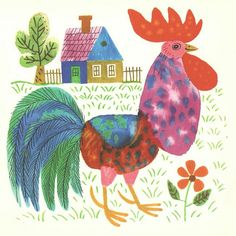 all things wild and wonderful: reich károly's children's book illustrations Pattern Illustration, Children's Book Illustration, Book Illustrations, Digital Illustration, All Things Wild, Chicken Painting, Galo, Children's Picture Books, Naive Art