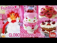 ♥ FRUTILLITAS ♥ Decoración en globos y mesa Candy Bar / Strawberry balloons - YouTube