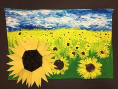 grade VanGogh sun f lowers with woven paper plate sunflower glued on Van Gogh, Winter Art, Autumn Art, Third Grade Art, Spring Art Projects, Sunflower Art, Spring Painting, Art Lessons Elementary, Weaving Art