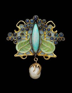 Rene Lalique, art nouveau pendant. Berries, leaves, pearl, enamel, jewelry x