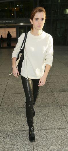 Emma Watson Street STyle - at Heathrow Airport in London - November 2013