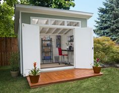 Aston x Wood Shed 565 Cubic Feet of Storage w/ Floor Kit Backyard sheds plans Outdoor Office, Backyard Office, Backyard Studio, Backyard Sheds, Outdoor Living, Garden Sheds, Backyard Storage, Garden Studio, Outdoor Storage