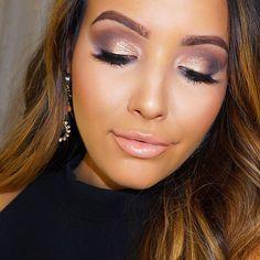 """Smokey Gray & Champagne Eyes tutorial just went up on my channel✨ I used #makeupgeek & #lorac pro 2 on the eyes // Mac Myth & #lagirlcosmetics Whisper lip…"""