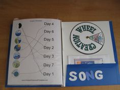 7 days of creation crafts  | The creation worksheet we did and the wheel we made. In the pocket I ...