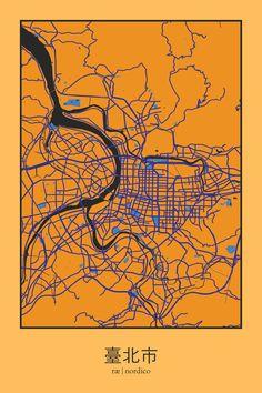 Taipei, Taiwan Map Print