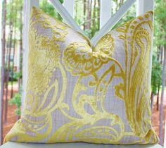 Decorative Designer Pillow Cover - 18x18 Yellow Textured Geometric Scroll Damask Pillow - Throw Pillow. $44.00, via Etsy.