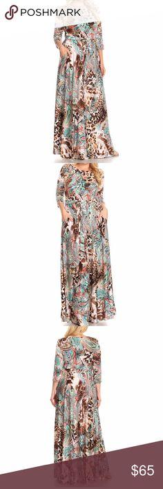 26c4533d23 Plus Leopard Paisley Boho Maxi Dress Brown Aqua Beautiful Boho Maxi Dress  in multi-color